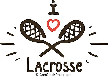 Two black sticks for lacrosse with red heart. Vector illustration