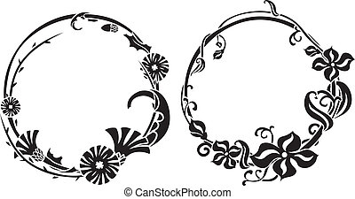 Two black wreath stencil in art nouveau style