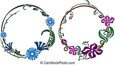 Two black wreath stencil in art nouveau style colored...