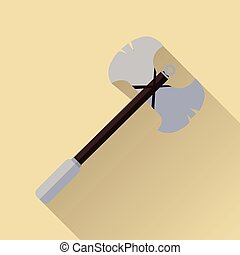 Two blade battle axe isolated. Medieval Weapon