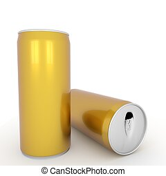 two blank aluminum yellow cans on isolated white in 3D rendering