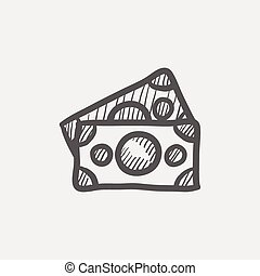 Two blank bills sketch icon