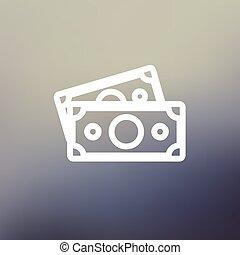 Two blank bills thin line icon