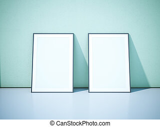 Two blank black picture frames