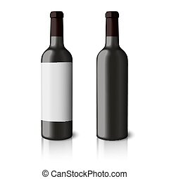 Two blank black realistic bottles for red wine isolated on white background with reflection. Vector
