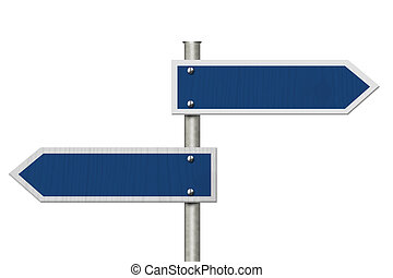 Two blank blue highway road sign