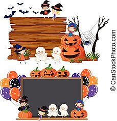 Two blank boards with kids in halloween costume