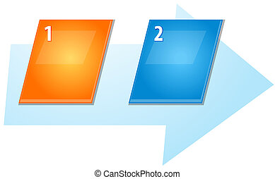 Two Blank business diagram slanted sequence illustration -...