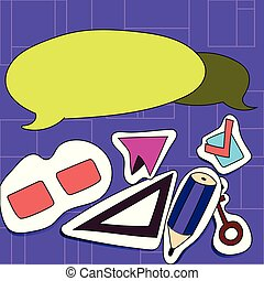 Two Blank Colorful Round Speech Bubble with Tails Facing Opposite Direction. Illustration of Different Sticker Style Icons For Creative Various Interests, Promotion and Activities.