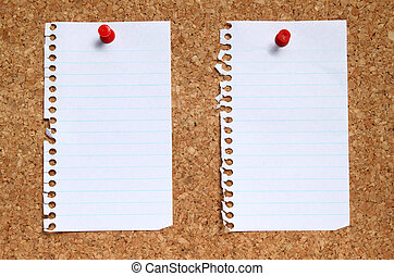 Two blank paper pages from a notebook pinned to a cork noticeboard.