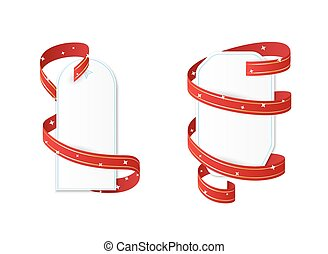 two blank papers with ribbon
