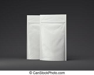 Plastic bag template  white blank packaging 3d illustration  Plastic