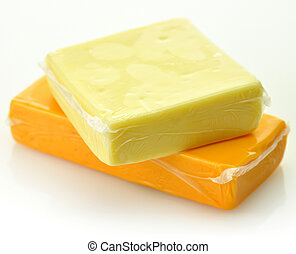cheddar cheese - two blocks of cheddar cheese