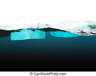 Two blocks of ice on water surface