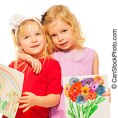 Two blond girls with their paintings