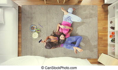 teenagers relaxing at home