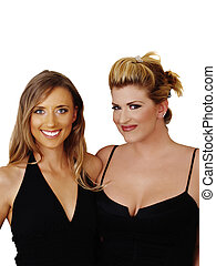 Two Blond Women Smiling in Black Dresses
