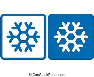 snowflake icon - two blue abstract snowflake icons