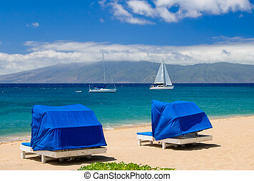 Two blue cabanas by the sea
