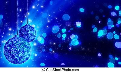two blue christmas balls loop rotat