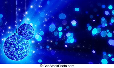 two blue christmas balls loop rotat