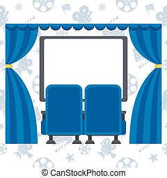 two blue cinema chairs and screen