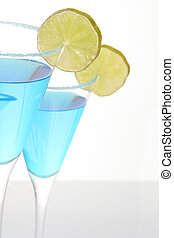 Two blue cocktails