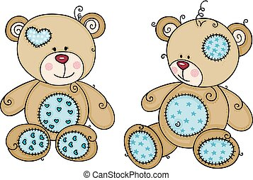 Two blue cute teddy bear