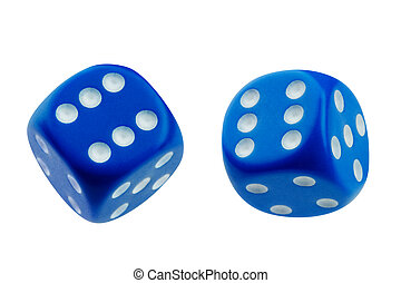 Two blue dice rolling isolated