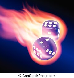 Two blue dices in fire