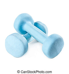 Two blue dumbbells isolated on white background.