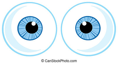 Two Blue Eye Balls Cartoon Character