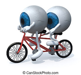 two blue eyeballs riding tandem, 3d illustration