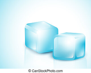 Two Blue Ice Cubes With Copy Space