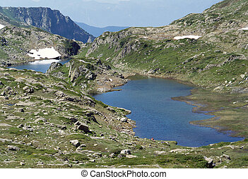 Two blue Lakes in Savoy mountains