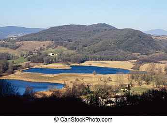 Two blue lakes of Chevelu in Savoy, France - Landscape of...