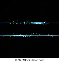 Two blue lines with light effects. Isolated on black transparent background. Vector illustration