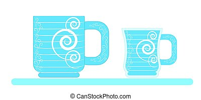 Two blue mugs on a white background. Vector.