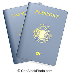 Passports. - Two Blue Passports. Non-Country golden Blazon.