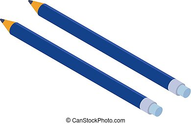 Two blue pencil icon, isometric style