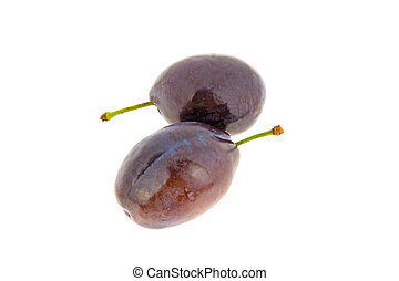 Two blue plums on white background
