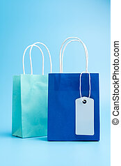 Two blue shopping or gift bags isolated on blue background