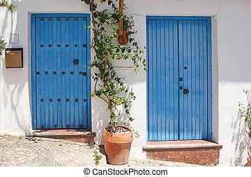 two blue spanish door