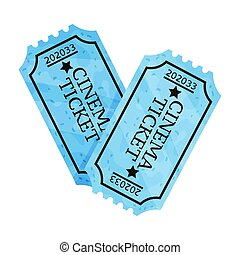 Two blue tickets. Vector illustration on a white background.