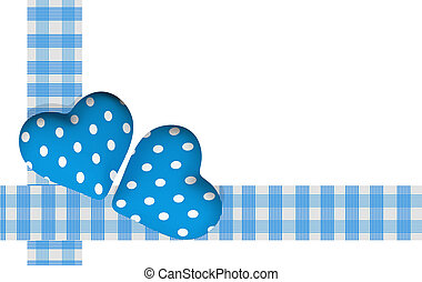 two blue valentine hearts on white background - 3d rendering