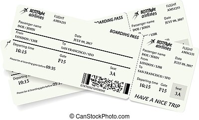 Two boarding pass tickets in gray colors