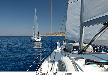 Two boats in the sea at the regatta