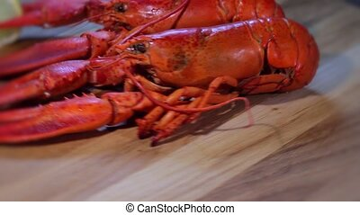 lobster on wooden background