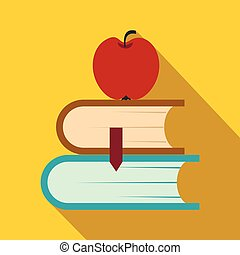 Two books and apple icon, flat style