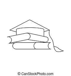 Two books and graduation cap icon, outline style - Two books...